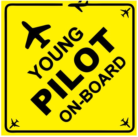 Young pilot onboard-Car glass inside sticker weather proof